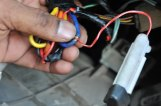 Attaching tracker red wire with switch wire